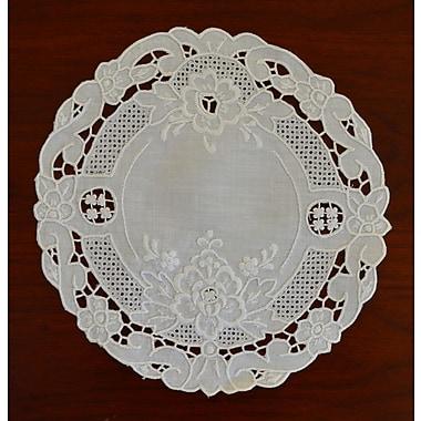 Fino Lino Florentine Embroidery Round Doily 4 Piece Set; 9.5''