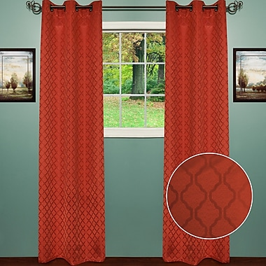 Sweet Home Collection Lattice Thermal Blackout Curtain Panels (Set of 2); Rust