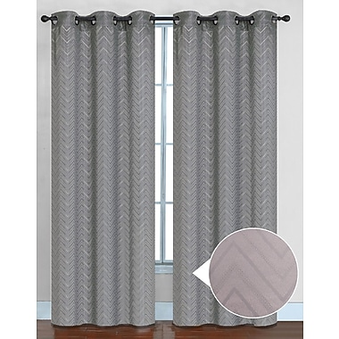Sweet Home Collection Chevron Curtain Panel (Set of 2); Silver