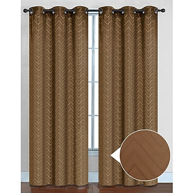 Sweet Home Collection Chevron Thermal Blackout Curtain Panels (Set of 2); Taupe