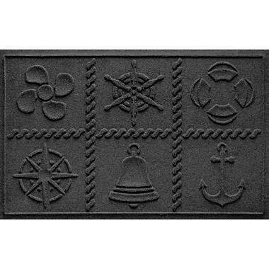Bungalow Flooring Aqua Shield Nautical Grid Doormat; Charcoal