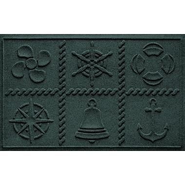 Bungalow Flooring Aqua Shield Nautical Grid Doormat; Evergreen
