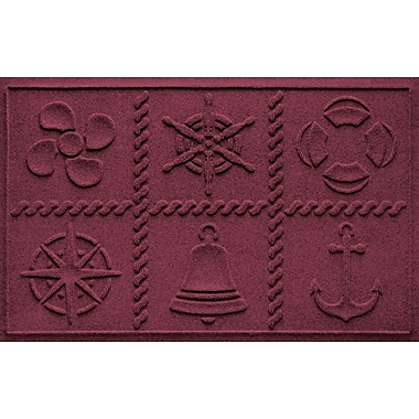 Bungalow Flooring Aqua Shield Nautical Grid Doormat; Bordeaux