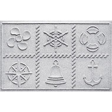 Bungalow Flooring Aqua Shield Nautical Grid Doormat; White