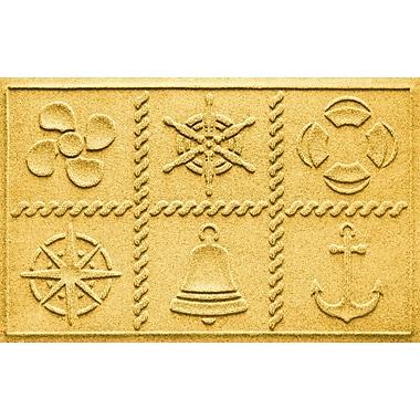 Bungalow Flooring Aqua Shield Nautical Grid Doormat; Yellow