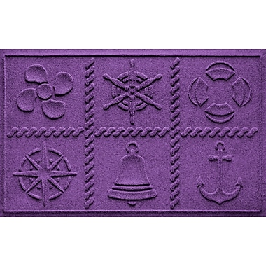 Bungalow Flooring Aqua Shield Nautical Grid Doormat; Purple