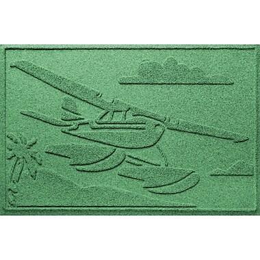 Bungalow Flooring Aqua Shield Sea Plane Doormat; Light Green