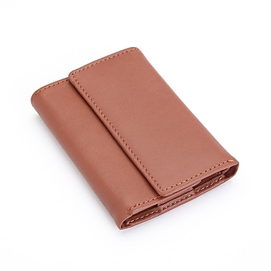Royce Leather Trifold Key Case Organizer Wallet in Genuine Leather, Debossing, 3 Initials