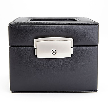 Royce Leather Luxury Two Slot Watch Box Display Case in Genuine Leather, Silver Foil Stamping, Full Name