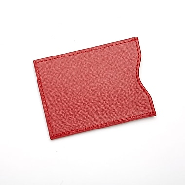 Royce Leather RFID Blocking Credit Card Sleeve in Saffiano Genuine Leather, Red, Gold Foil Stamping, 3 Initials