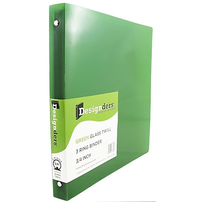 JAM Paper® Plastic 3 Ring Binder, 0.75 inch, Glass Twill Green, Sold Individually (750T1GR)