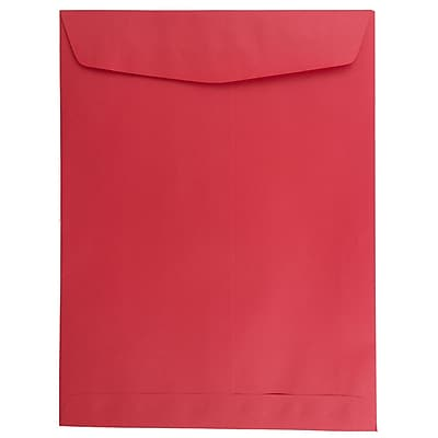 JAM Paper® 9 x 12 Open End Catalog Envelopes, Brite Hue Red Recycled, 100/pack (80329)