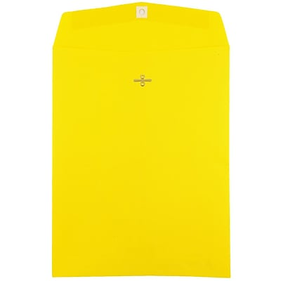 JAM Paper® 10 x 13 Open End Catalog Envelopes with Clasp Closure, Brite Hue Yellow Recycled, 100/pack (900906710)