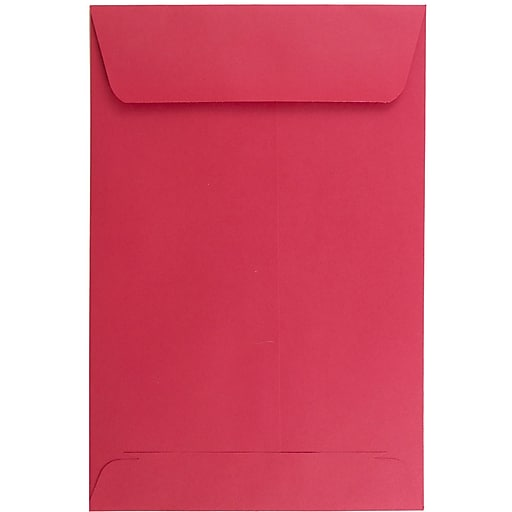 JAM Paper® 6 x 9 Open End Catalog Colored Envelopes, Red Recycled, 100/Pack (V0128139)