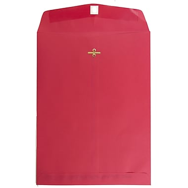 JAM Paper® 9 x 12 Open End Catalog Envelopes with Clasp Closure, Brite Hue Red, 100/pack (7781)