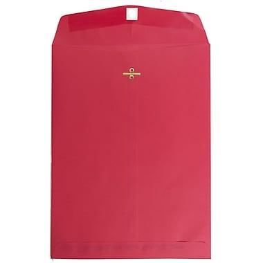 JAM Paper – Enveloppes recyclées à ouverture au sommet pour catalogue, fermeture à agrafe, 9 x 12 po, rouge, 25/paquet (7781a)