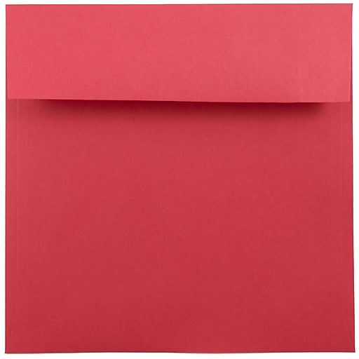 JAM Paper® 7.5 x 7.5 Square Colored Invitation Envelopes, Red Recycled, 50/Pack (2792291I)