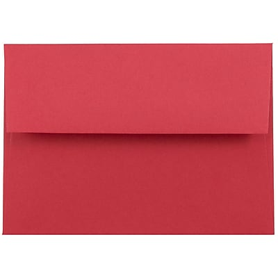 JAM Paper® 4bar A1 Envelopes, 3 5/8 x 5 1/8, Brite Hue Red Recycled, 250/box (900927182H)
