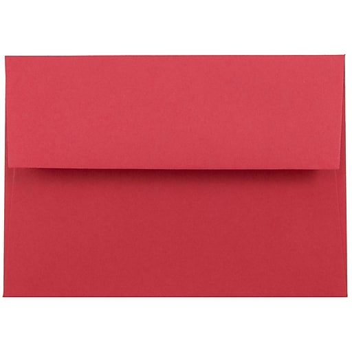 JAM Paper® 4Bar A1 Colored Invitation Envelopes, 3.625 x 5.125, Red Recycled, Bulk 250/Box (900927182H)