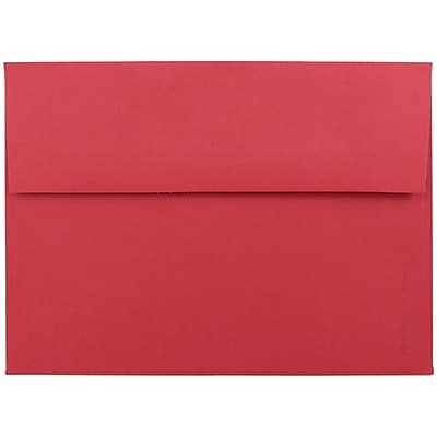 JAM Paper® A7 Invitation Envelopes, 5.25 x 7.25, Brite Hue Red Recycled, 250/box (15945H)