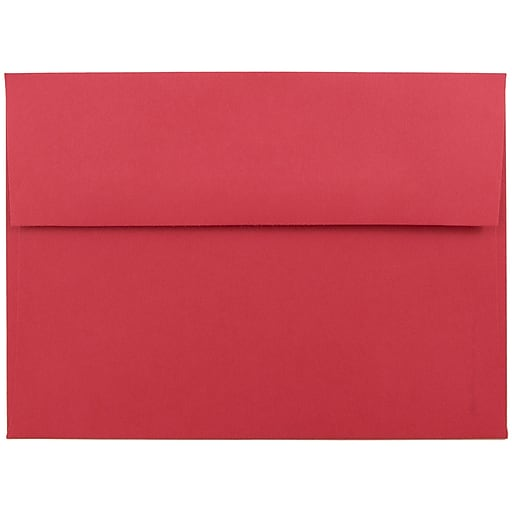 JAM Paper® A7 Colored Invitation Envelopes, 5.25 x 7.25, Red Recycled, 50/Pack (15945I)