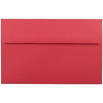 JAM Paper® A10 Invitation Envelopes, 6 x 9.5, Brite Hue Red Recycled, 250/box (96078H)