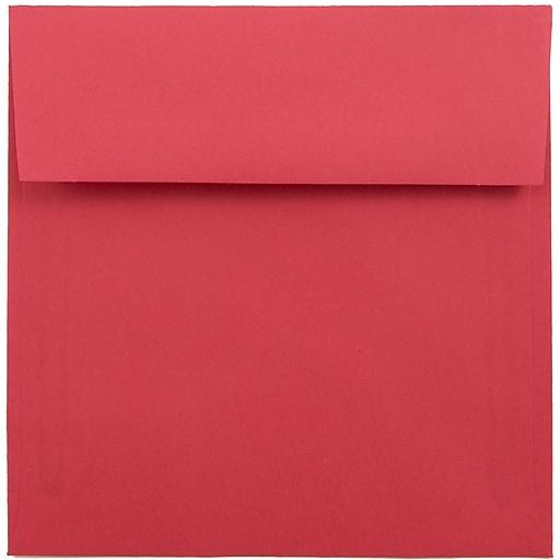 JAM Paper® 6 x 6 Square Colored Invitation Envelopes, Red Recycled, Bulk 250/Box (2792270H)