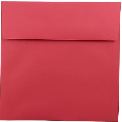 JAM Paper® 8.5 x 8.5 Square Envelopes, Brite Hue Red Recycled, 50/pack (2794374I)