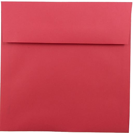 JAM Paper® 8.5 x 8.5 Square Colored Invitation Envelopes, Red Recycled, 50/Pack (2794374I)
