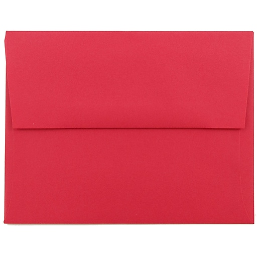 JAM Paper® A2 Colored Invitation Envelopes, 4.375 x 5.75, Red Recycled, Bulk 1000/Carton (15845B)