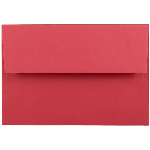 JAM Paper® A8 Colored Invitation Envelopes, 5.5 x 8.125, Red Recycled, 50/Pack (27799I)
