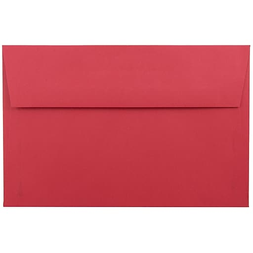 JAM Paper® A9 Colored Invitation Envelopes, 5.75 x 8.75, Red Recycled, 50/Pack (14257I)