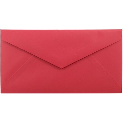 JAM Paper® Monarch Envelopes, 3 7/8 x 7 1/2, Brite Hue Red Recycled, 50/pack (151014I)