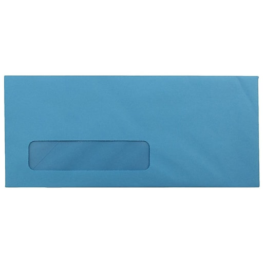 JAM Paper® #10 Business Colored Window Envelopes, 4.125 x 9.5, Blue Recycled, 50/Pack (5156476I)