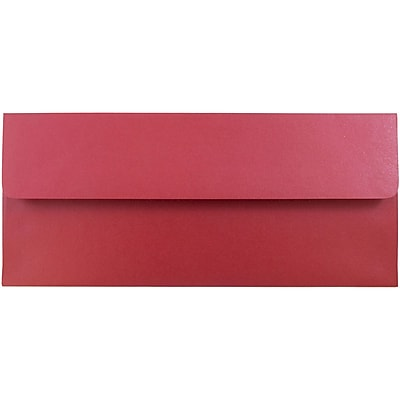 JAM Paper® #10 Business Envelopes, 4 1/8 x 9 1/2, Stardream Metallic Jupiter Red, 1000/carton (V018285B)
