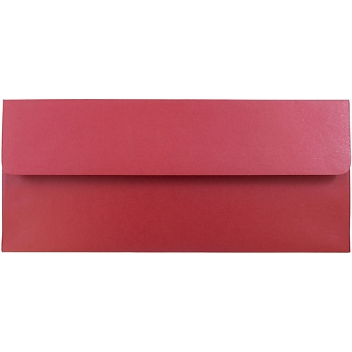 JAM Paper® #10 Metallic Business Envelopes, 4.125 x 9.5, Stardream Jupiter Red, 50/Pack (V018285I)