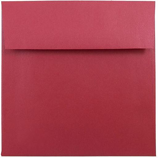 JAM Paper® 6 x 6 Square Metallic Invitation Envelopes, Stardream Jupiter Red, Bulk 250/Box (184777H)