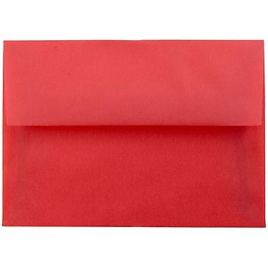 JAM Paper® 4bar A1 Envelopes, 3 5/8 x 5 1/8, Red Translucent Vellum, 25/pack (1591618)