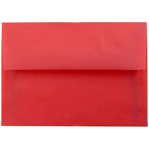 JAM Paper® 4Bar A1 Translucent Vellum Invitation Envelopes, 3.625 x 5.125, Primary Red, 50/Pack (1591618I)