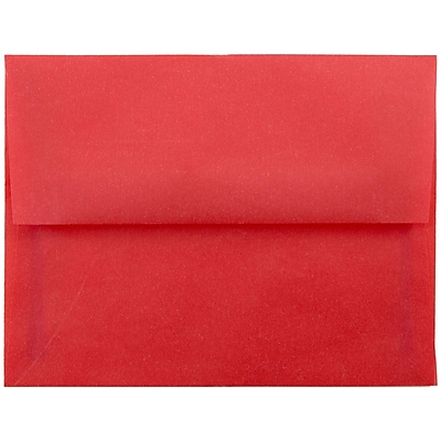 JAM Paper® A2 Invitation Envelopes, 4 3/8 x 5 3/4, Red Translucent Vellum, 50/pack (PACV605I)