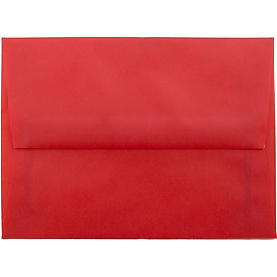 JAM Paper® A6 Invitation Envelopes, 4.75 x 6.5, Red Translucent Vellum, 50/pack (PACV655I)