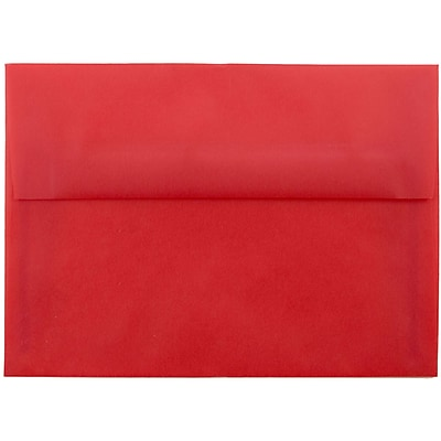JAM Paper® A7 Invitation Envelopes, 5.25 x 7.25, Red Translucent Vellum, 250/box (PACV705H)