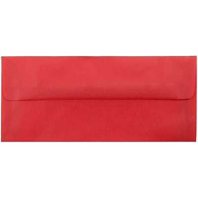 JAM Paper® #10 Business Envelopes, 4 1/8 x 9 1/2, Red Translucent Vellum, 500/box (PACV355H)