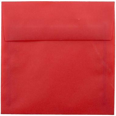 JAM Paper® 5.5 x 5.5 Square Envelopes, Red Translucent Vellum, 25/pack (1591906)