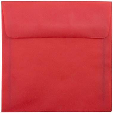 JAM Paper® 6.5 x 6.5 Square Envelopes, Red Translucent Vellum, 25/pack (1592122)