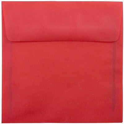 JAM Paper® 6.5 x 6.5 Square Envelopes, Red Translucent Vellum, 250/box (1592122H)
