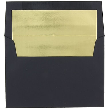 JAM Paper® A8 Foil Lined Envelopes, 5.5 x 8.125, Black Linen with Gold Foil Lining, 50/pack (3243680BI)
