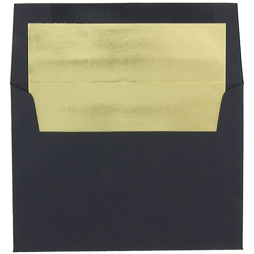 JAM Paper® A8 Foil Lined Invitation Envelopes, 5.5 x 8.125, Black Linen with Gold Foil, Bulk 250/Box (3243680BH)