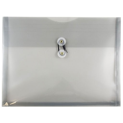 JAM Paper® Plastic Envelopes with Button and String Tie Closure, Letter Booklet, 9.75 x 13, Smoke Gray, 12/Pack (218B1SM)