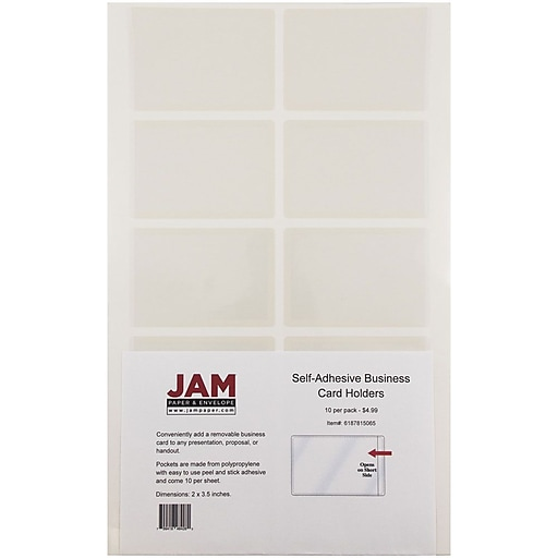 Jam paper self adhesive business card holder pocket clear 50pack httpsstaples 3ps7is colourmoves
